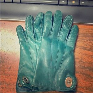Teal leather coach gloves